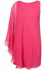 BNWT £75 TopShop Dress UK 12 Bright Pink Silver Gems Chiffon One Sleeve Shoulder