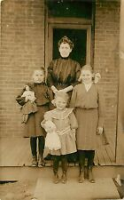 c1910 RPPC Postcard; Mother & 3 Daughters, Children Infants Dolls, Unknown US