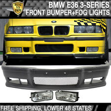 92-98 BMW E36 3-Series M3 Style Front Bumper Cover Lip Grille + Clear Fog Lights