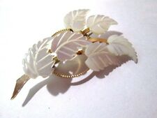 MOTHER OF PEARL LEAVES LEAF BRASS SHELL FLOWERS VINTAGE BEAUTIFUL GIFT