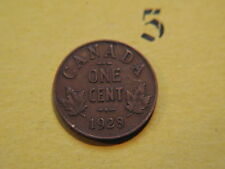 1928 Canada Canadian Small 1c (One) Cent Coin,  Penny
