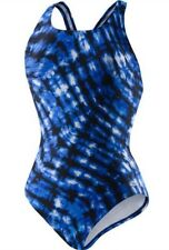 New Women's Speedo One Piece Swimsuit Size 6 BLACK & BLUE  Print NWT FAST SHIP!