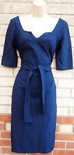 HYBRID BLUE CROP SLEEVE BELTED V NECK BANDAGE BODYCON TUBE ELEGANT DRESS 14 L