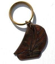 Vintage 1970'S Gold Tone Sail Boat Ocean Key Ring Key Chain by RUSS