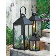 Set of 3 Small, Medium & Large Americana Revere Matte Black Candle Lanterns