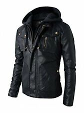 Mens Black Slimfit Handmade Motorcycle Biker Real Leather Jacket W Hood XS - 2XL
