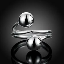 New 925 Sterling Silver Adjustable Ring Women Men Round Ball Open Rings Gifts