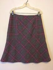 9581) NWOT TALBOTS wool knit purple gray plaid A-line flare skirt seamed hips 6
