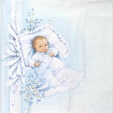 4 Single Party Paper Napkins for Decoupage Decopatch Craft New Born Baby Boy