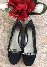 New Calvin Klein Lady Black Satin Jeweled Pump Ladies Flats Evening Shoes 81/2