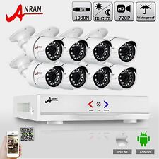 Anran 8CH HD DVR Kit 8pcs 720P/1800TVL AHD CCTV Security Camera Day&Night vision