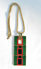 Lanvin Paris signed Necklace Vintage Modernist Goldtone Enamel Pendant green red