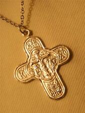 Handsome Silvertone Orthodox Etch Detail Crucifix Cross Religious Medal Necklace