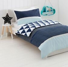 ZIG ZAG BLUE WHITE  REVERSIBLE SINGLE bed QUILT DOONA COVER SET NEW