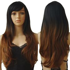 Ombre Long Curly Straight Full Head Wig Costume Party Hot Sale Wommen Blonde A3