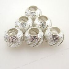 30pcs Wholesale New Silvery Carved Sparkle European Charms Bead Findings 10mm BS
