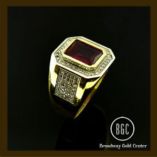 4.16 CTW Red Emerald Cut w/ Round Cut Side Stones Men's Ring 14k Yellow Gold