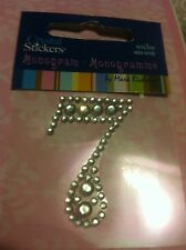 #7 Number Seven Clear Diamond Rhinestone Gemstone Scrapbooking Sticker