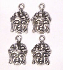4 x  MEDIUM SIZE BUDDHA HEAD & FACE SILVER COLOUR  17mm x 15mm HEAD SIZE Approx