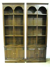 """*PAIR* 1970's  Ethan Allen """"Antiqued Pine"""" Bookcases With Cabinet Bases"""