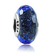 authentic 925 sterling silver Blue Fascinating Iridescence Glass Bead Charm new