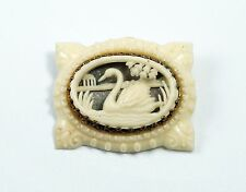 Vintage 1920's Art Deco Depose France Cut Out Celluloid Swan Lake Pin Brooch