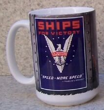 Coffee Mug Military Merchant Marine Ships for Victory NEW 14 ounce cup gift box