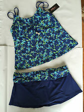 BNWT Ladies Sz 26 2Sea Australia Blue/Floral Underwire Tankini Swimsuit RRP $90