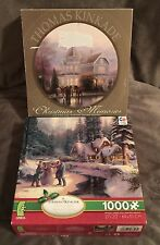 TWO CEACO THOMAS KINKADE WINTER SCENES PUZZLES ONE 750 PIECE ONE 1000 PIECE