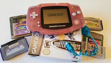 Nintendo Game Boy Advance Pink Handheld System Tested light, 4 games, Spongebob
