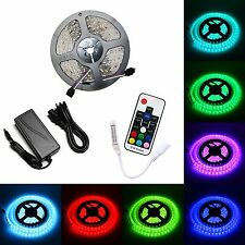 5M RGB 5050 Waterproof Strip 17Key RF Mini Remote 12V 5A Power SMD 300 LED Light