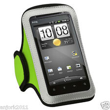GYM WORKOUT NEOPRENE ARMBAND NEON GREEN LG MOTION 4G MS770 OPTIMUS G2X BLACK