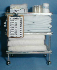 Doll miniature handcrafted Medical cart filled linens blankets cup 1/12th scale