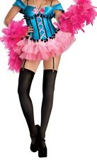 Burlesque Can-Can Rockette Sweet Sensations Blue Costume Pink Boa Women M 8-10