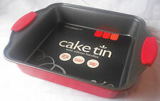 NEW RED NON STICK SQUARE CAKE PAN TIN WITH SILICONE HANDLES 8 INCH 20cm UBL