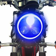 Black Metal Moto Led Linterna Con Blue Halo anillo Fits Yamaha Xjr1200 1300