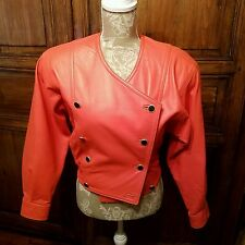 Laurel Escada Vintage Leather Jacket Cropped Orange Coral Bomber Double Breasted