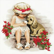 Sweet Tooth Girl And Puppy Dog 14 Count Cross Stitch Kit By Riolis 30cm x 30cm
