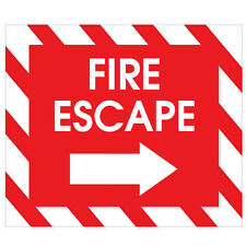 "FIRE ESCAPE exit sign sticker 6"" x 5"""