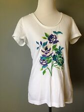 Johnny Was Size Small JWLA Los Angeles White Embroidered Short Sleeve Tee Shirt