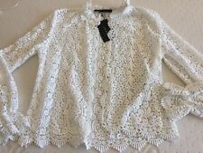ZARA NWT White Beautiful, Elegant & Delicate Blouse-jacket. Sz. Large. Sold Out.