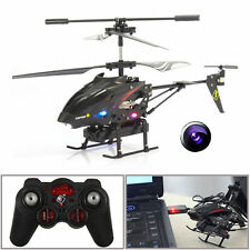 S977 3.5 CH Radio Remote Control Metal Gyro RC Helicopter With Camera Black New