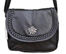 Trachten Tasche Handtasche Schultertasche mit Edelweiss Echt Leder Schwarz 6628