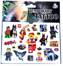 LEGO TATTOO SHEET Childrens Birthday Party Gift Bag Filler Batman Kids Loot