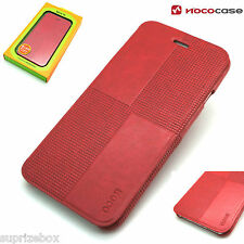 Apple Iphone 6 Plus y 6S Plus de Cuero Funda tipo billetera de moda HOCO Cristal Rojo Libro