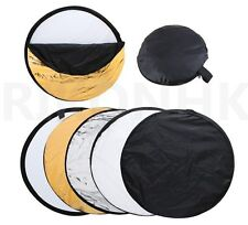 "24"" 60cm 5in1 Portable Collapsible Light Reflector Gold Silver White Black Trans"