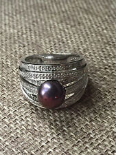 Ross Simons Sterling Silver Black Cultured Pearl Diamond Ring size 10