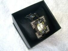 Retro 'Clover' Unused Very Ornate Crystal Square Quartz Watch & Expanding Strap.