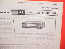 1966 MOTOROLA AUTO CAR AM-FM RADIO FACTORY SERVICE REPAIR MANUAL MODEL FM106M