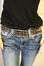 Brown Leather Wildfire Cowgirl  Bling Belt Crystals Check Out Buckle! S-M $100+